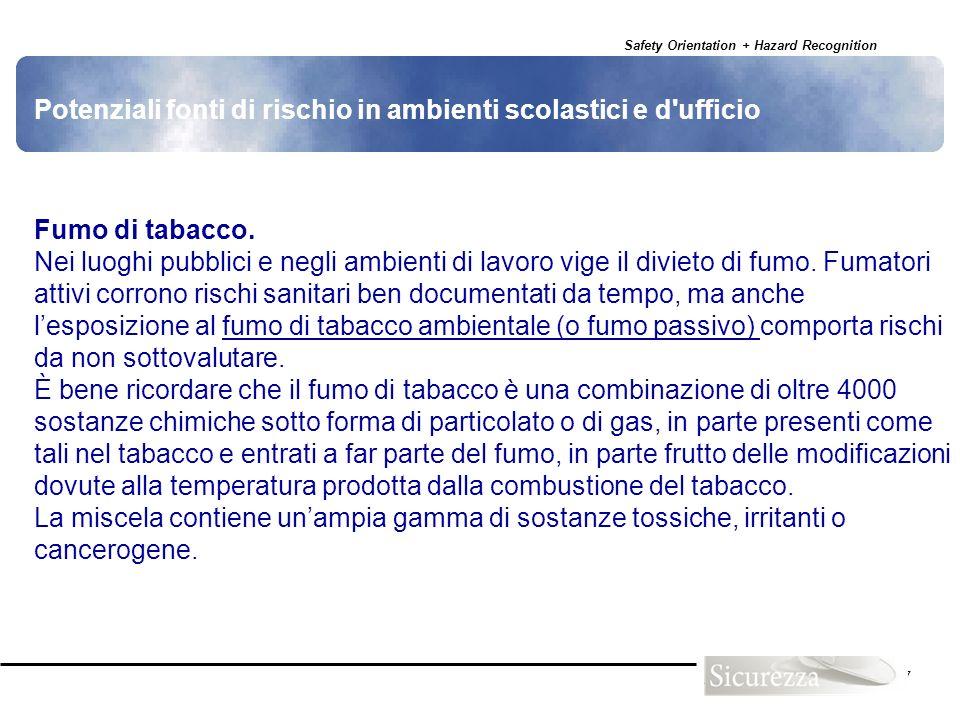 Safety Orientation + Hazard Recognition 127 Potenziali fonti di rischio in ambienti scolastici e d'ufficio Fumo di tabacco. Nei luoghi pubblici e negl