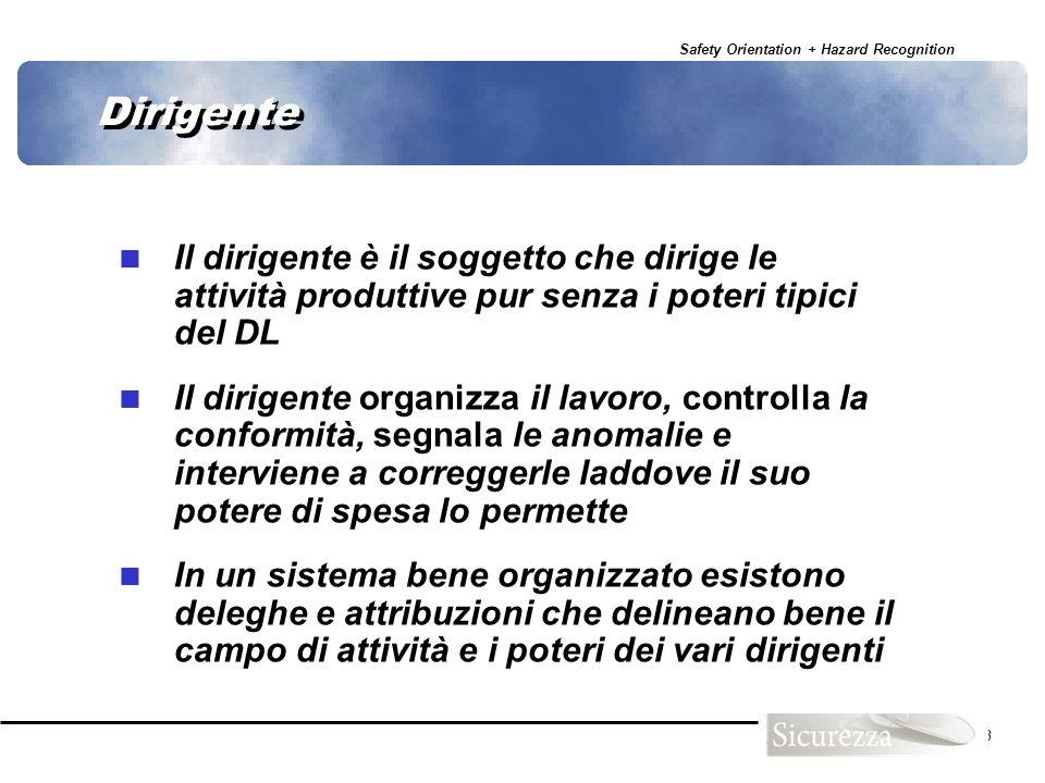 Safety Orientation + Hazard Recognition 13 Dirigente Il dirigente è il soggetto che dirige le attività produttive pur senza i poteri tipici del DL Il