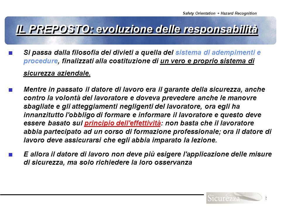 Safety Orientation + Hazard Recognition 22 IL PREPOSTO: evoluzione delle responsabilità Si passa dalla filosofia dei divieti a quella del sistema di a