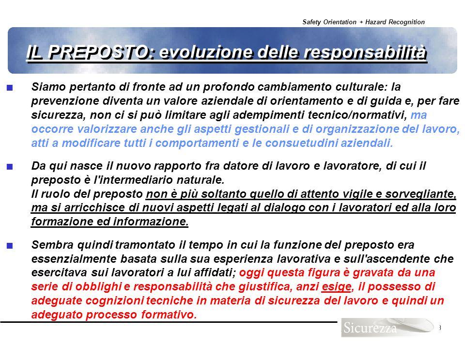 Safety Orientation + Hazard Recognition 23 IL PREPOSTO: evoluzione delle responsabilità Siamo pertanto di fronte ad un profondo cambiamento culturale: