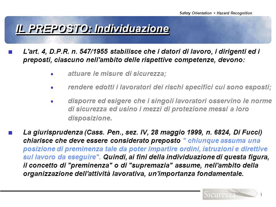 Safety Orientation + Hazard Recognition 24 IL PREPOSTO: Individuazione L'art. 4, D.P.R. n. 547/1955 stabilisce che i datori di lavoro, i dirigenti ed