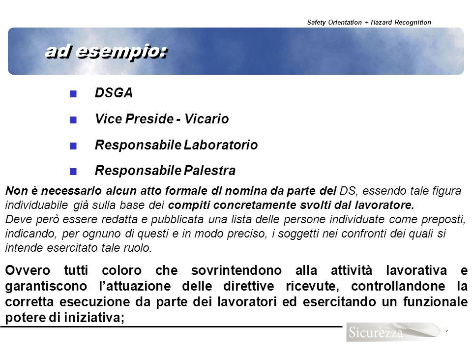 Safety Orientation + Hazard Recognition 27 ad esempio: DSGA Vice Preside - Vicario Responsabile Laboratorio Responsabile Palestra Ovvero tutti coloro