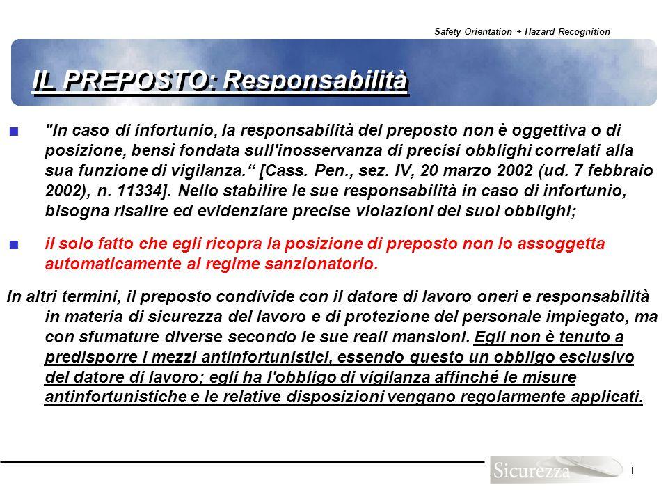 Safety Orientation + Hazard Recognition 31 IL PREPOSTO: Responsabilità