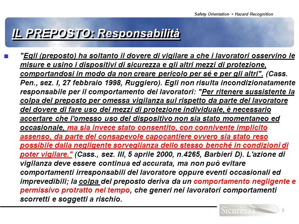 Safety Orientation + Hazard Recognition 32 IL PREPOSTO: Responsabilità