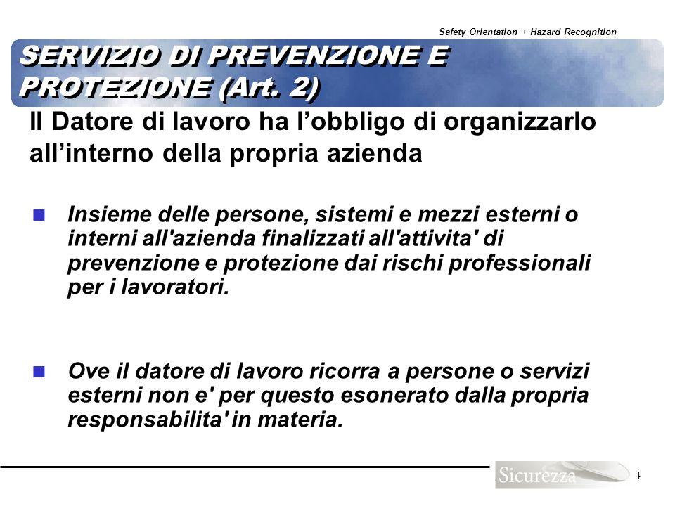 Safety Orientation + Hazard Recognition 44 SERVIZIO DI PREVENZIONE E PROTEZIONE (Art. 2) Insieme delle persone, sistemi e mezzi esterni o interni all'