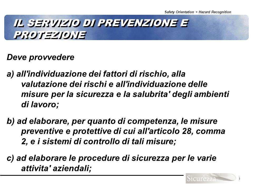 Safety Orientation + Hazard Recognition 45 IL SERVIZIO DI PREVENZIONE E PROTEZIONE Deve provvedere a) all'individuazione dei fattori di rischio, alla