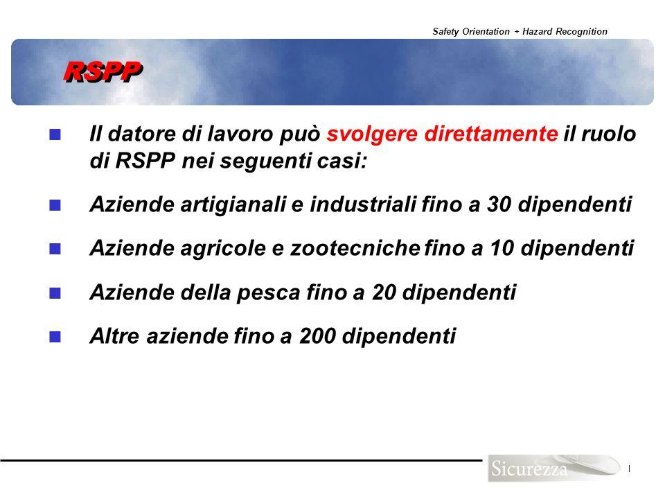 Safety Orientation + Hazard Recognition 51 RSPP Il datore di lavoro può svolgere direttamente il ruolo di RSPP nei seguenti casi: Aziende artigianali