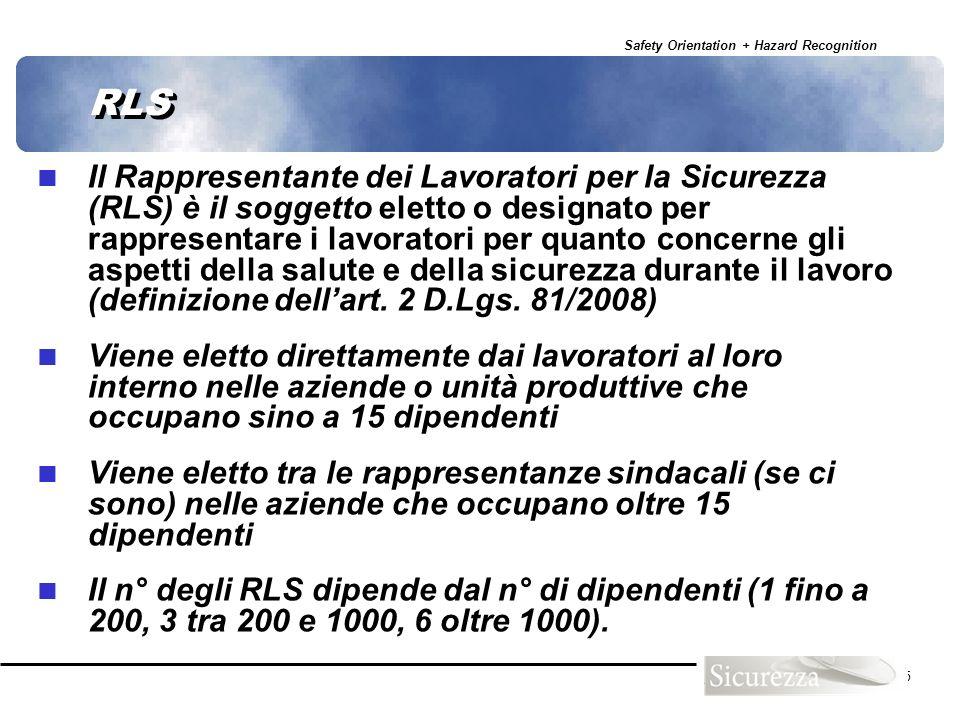 Safety Orientation + Hazard Recognition 55 RLS Il Rappresentante dei Lavoratori per la Sicurezza (RLS) è il soggetto eletto o designato per rappresent