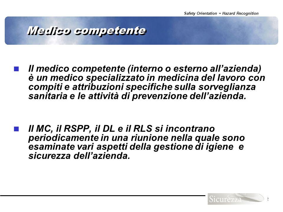 Safety Orientation + Hazard Recognition 62 Medico competente Il medico competente (interno o esterno allazienda) è un medico specializzato in medicina