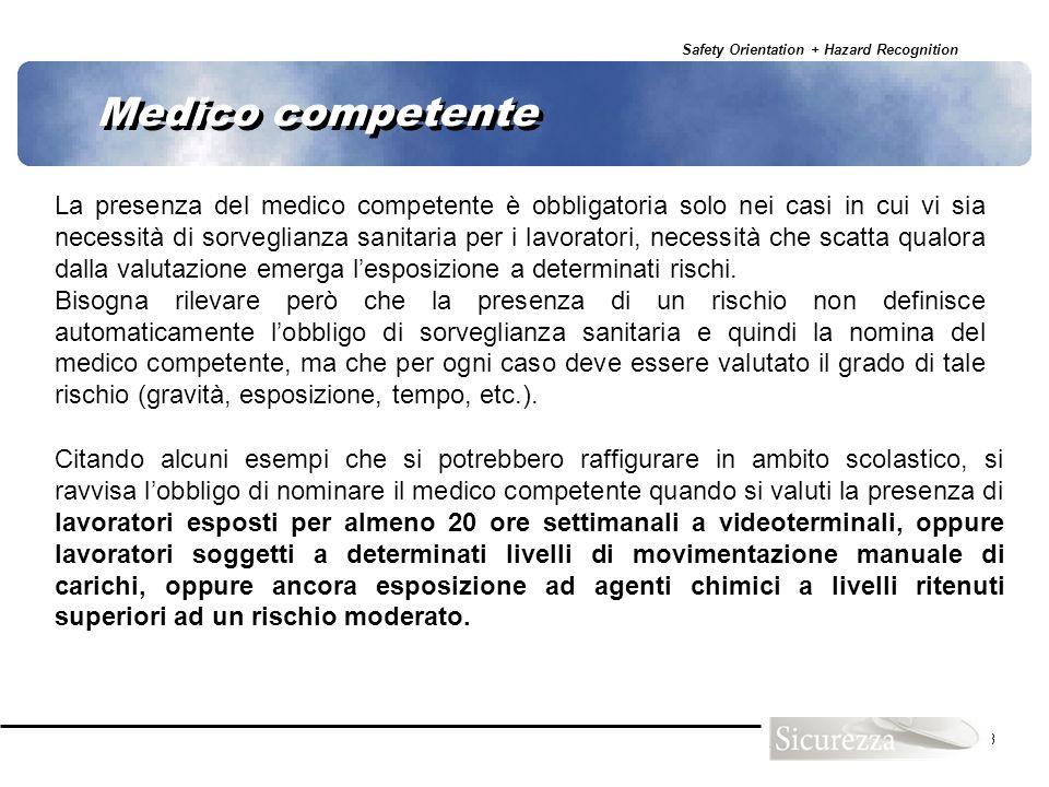 Safety Orientation + Hazard Recognition 63 La presenza del medico competente è obbligatoria solo nei casi in cui vi sia necessità di sorveglianza sani