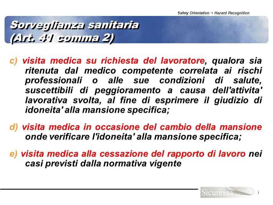 Safety Orientation + Hazard Recognition 69 Sorveglianza sanitaria (Art. 41 comma 2) c) visita medica su richiesta del lavoratore, qualora sia ritenuta