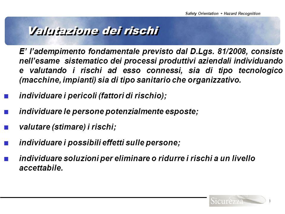 Safety Orientation + Hazard Recognition 73 Valutazione dei rischi E ladempimento fondamentale previsto dal D.Lgs. 81/2008, consiste nellesame sistemat