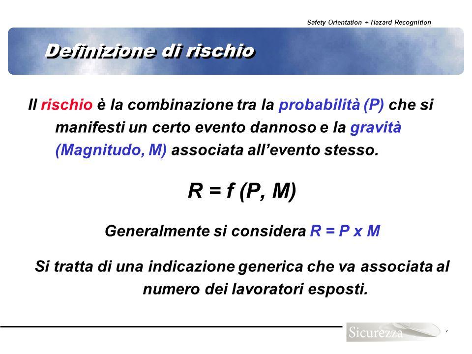 Safety Orientation + Hazard Recognition 77 Definizione di rischio Il rischio è la combinazione tra la probabilità (P) che si manifesti un certo evento