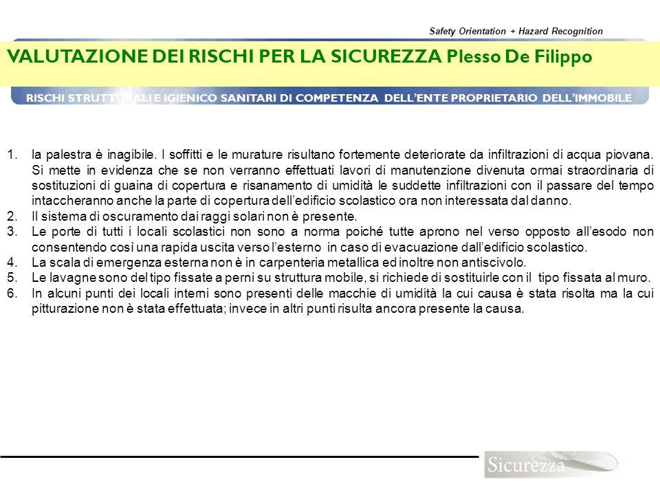 Safety Orientation + Hazard Recognition 91 RISCHI STRUTTURALI E IGIENICO SANITARI DI COMPETENZA DELL ENTE PROPRIETARIO DELL IMMOBILE VALUTAZIONE DEI R