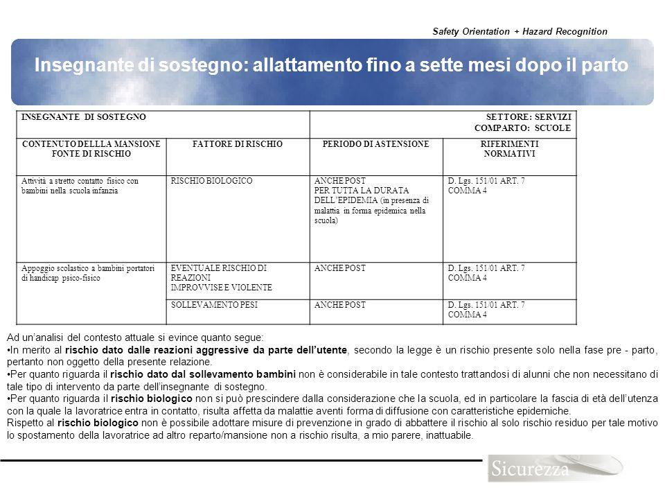 Safety Orientation + Hazard Recognition 95 INSEGNANTE DI SOSTEGNOSETTORE: SERVIZI COMPARTO: SCUOLE CONTENUTO DELLLA MANSIONE FONTE DI RISCHIO FATTORE