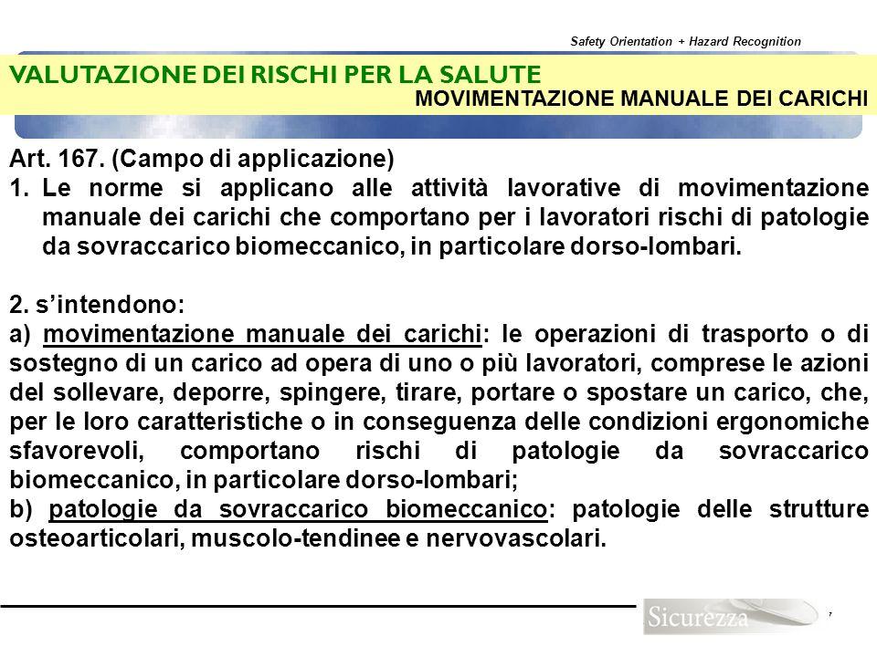 Safety Orientation + Hazard Recognition 97 VALUTAZIONE DEI RISCHI PER LA SALUTE Art. 167. (Campo di applicazione) 1.Le norme si applicano alle attivit