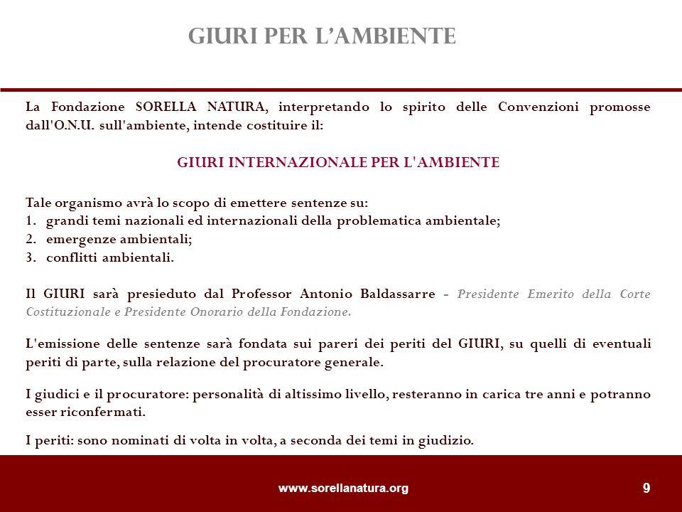www.sorellanatura.org 9 La Fondazione SORELLA NATURA, interpretando lo spirito delle Convenzioni promosse dall O.N.U.