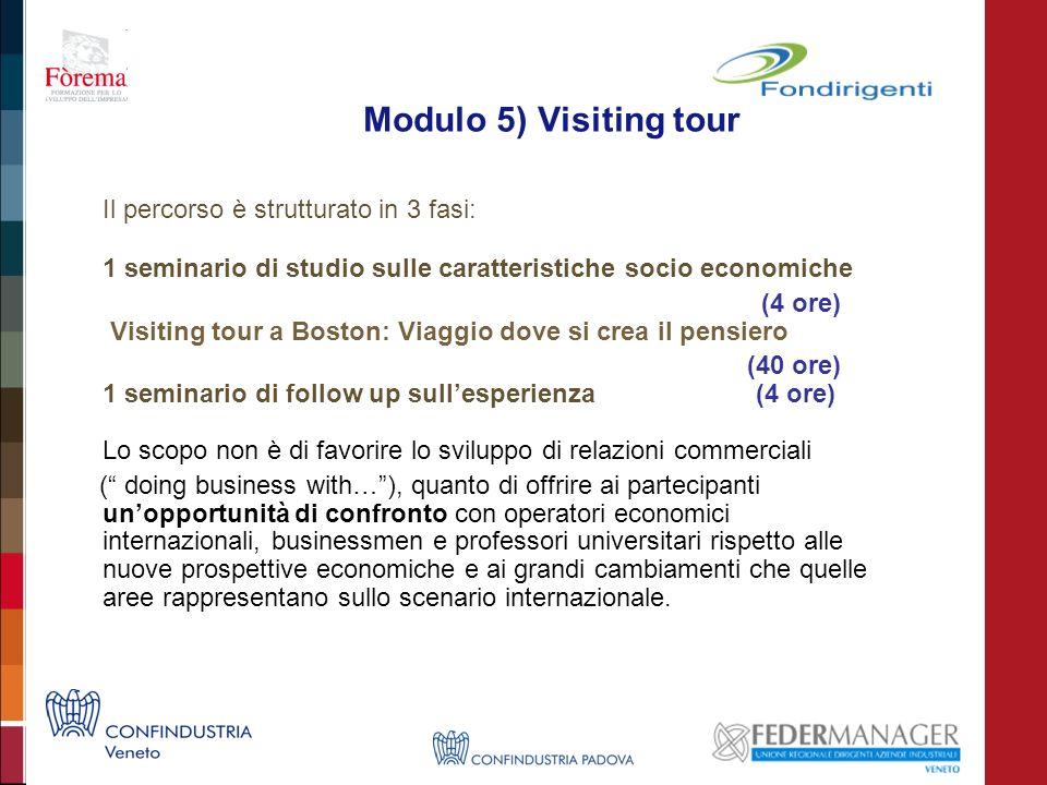 Modulo 5) Visiting tour Il percorso è strutturato in 3 fasi: 1 seminario di studio sulle caratteristiche socio economiche (4 ore) Visiting tour a Bost