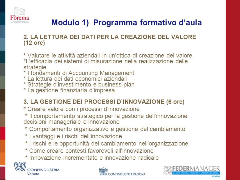 Modulo 1) Programma formativo daula 2. LA LETTURA DEI DATI PER LA CREAZIONE DEL VALORE (12 ore) * Valutare le attività aziendali in unottica di creazi