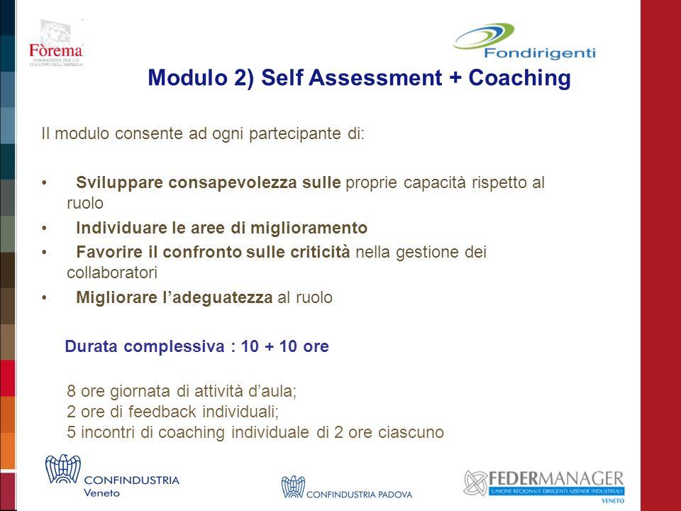 Modulo 2) Self Assessment + Coaching Il modulo consente ad ogni partecipante di: Sviluppare consapevolezza sulle proprie capacità rispetto al ruolo Individuare le aree di miglioramento Favorire il confronto sulle criticità nella gestione dei collaboratori Migliorare ladeguatezza al ruolo Durata complessiva : 10 + 10 ore 8 ore giornata di attività daula; 2 ore di feedback individuali; 5 incontri di coaching individuale di 2 ore ciascuno