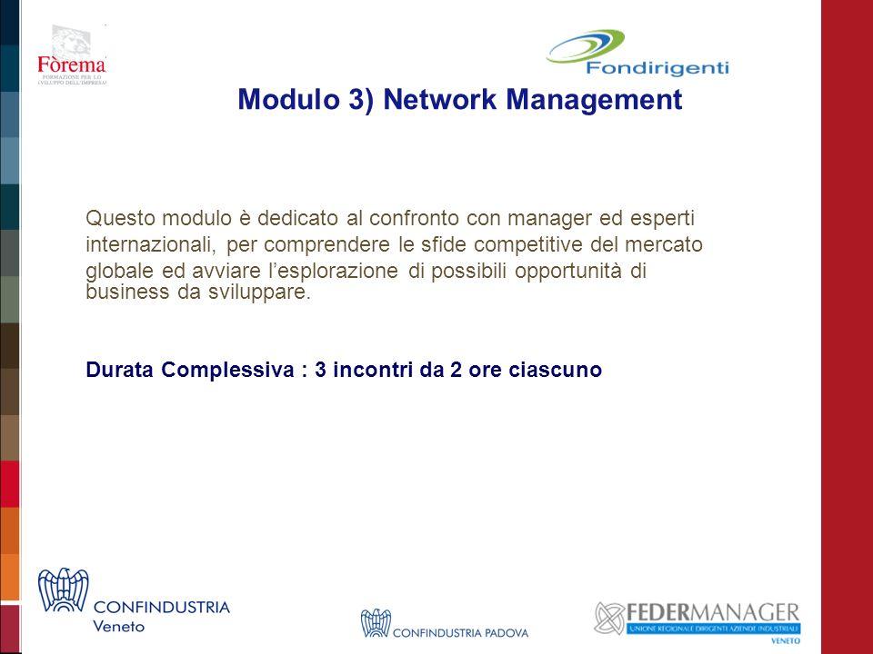 Modulo 3) Network Management Questo modulo è dedicato al confronto con manager ed esperti internazionali, per comprendere le sfide competitive del mercato globale ed avviare lesplorazione di possibili opportunità di business da sviluppare.
