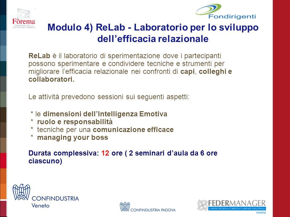 Modulo 4) ReLab - Laboratorio per lo sviluppo dellefficacia relazionale ReLab è il laboratorio di sperimentazione dove i partecipanti possono sperimentare e condividere tecniche e strumenti per migliorare lefficacia relazionale nei confronti di capi, colleghi e collaboratori.