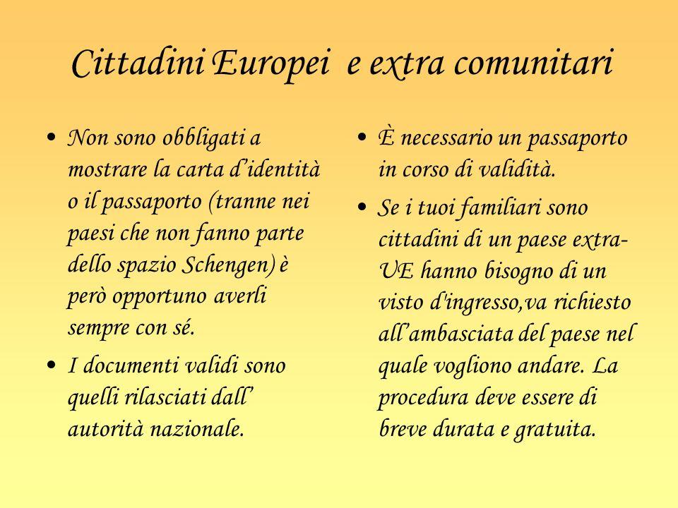 Cittadini Europei e extra comunitari Non sono obbligati a mostrare la carta didentità o il passaporto (tranne nei paesi che non fanno parte dello spaz