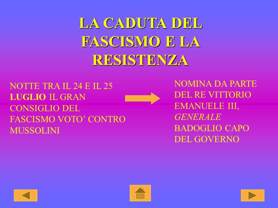 LA FINE DEL FASCISMO Le sconfitte patite sul fronte balcanico, su quello africano e la disastrosa campagna di Russia. proiettarono l'Italia in un prof