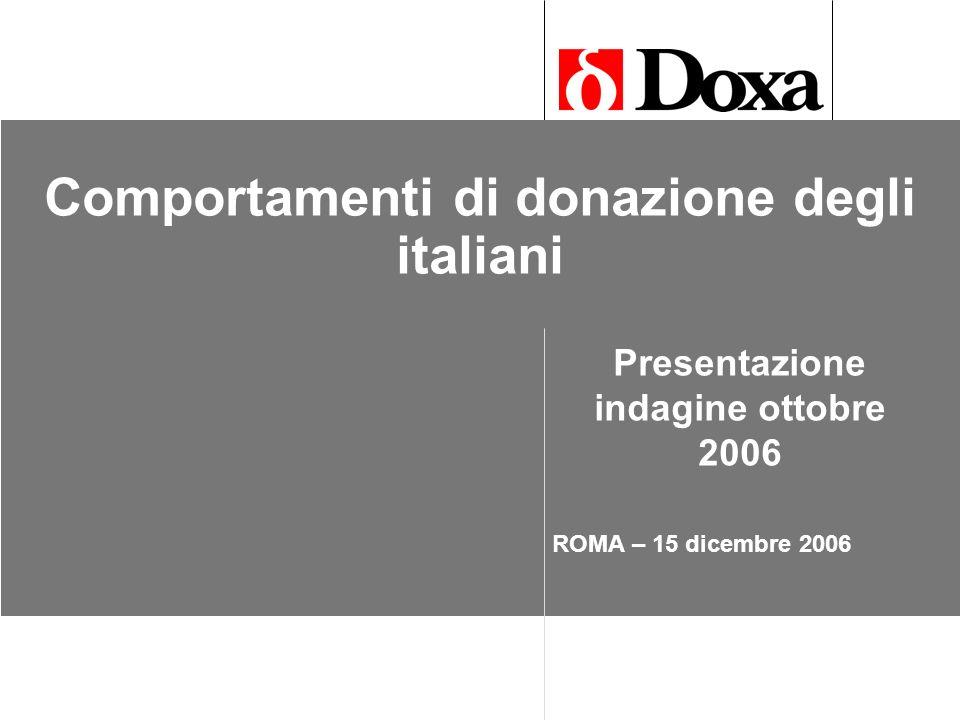 2 Comportamenti di donazione degli italiani Ottobre 2006 Metodologia La ricerca viene svolta in forma di monitoraggio, con utilizzo di tecnica e questionario costanti.