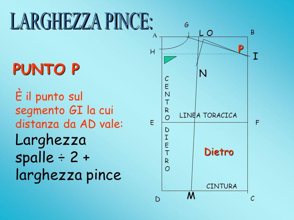 A B D C EF LINEA TORACICA CINTURA G H I L PUNTO O N -O-O-O-ON=0,6 cm (T.dalla 40 alla 44) - ON=0,9 cm (T.dalla 46 alla 50) -O-O-O-ON=1,2 cm (T. dalla
