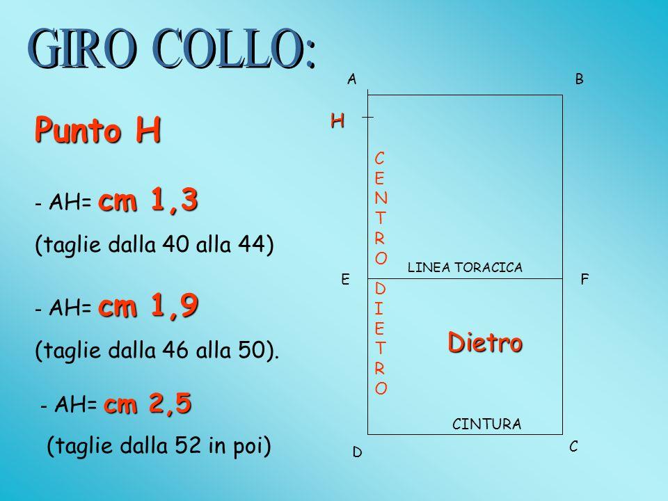 Punto H = AH=1/6ST (tg minori e medie.) AH = AG nelle taglie maggiori.