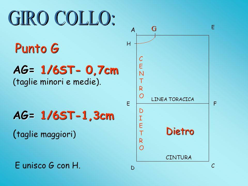 A E D C EF LINEA TORACICA CINTURA AG= 1/6ST- 0,7cm AG= 1/6ST- 0,7cm (taglie minori e medie).