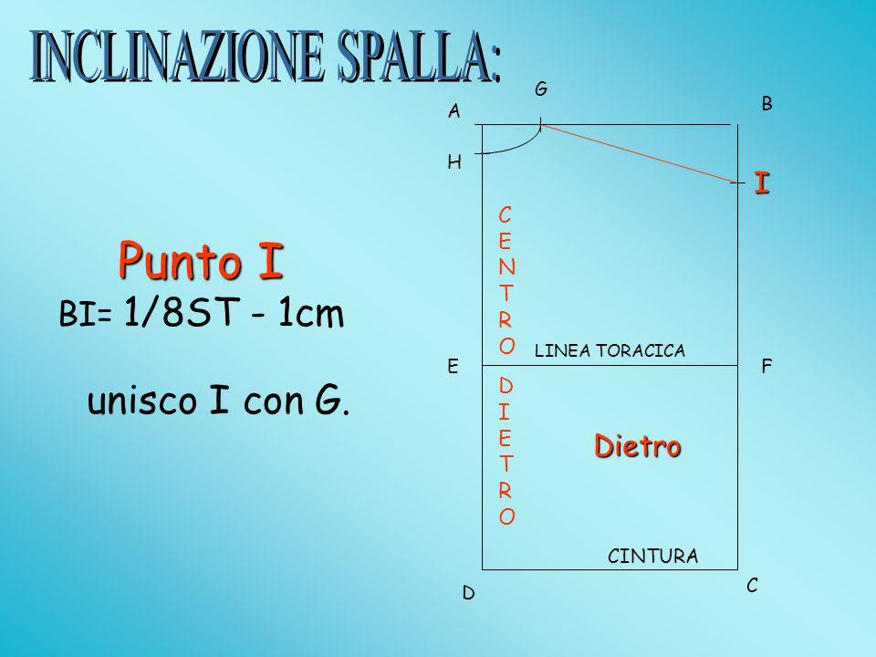 A B D C EF LINEA TORACICA CINTURA BI= 1/8ST - 1cm G H I Punto I unisco I con G.