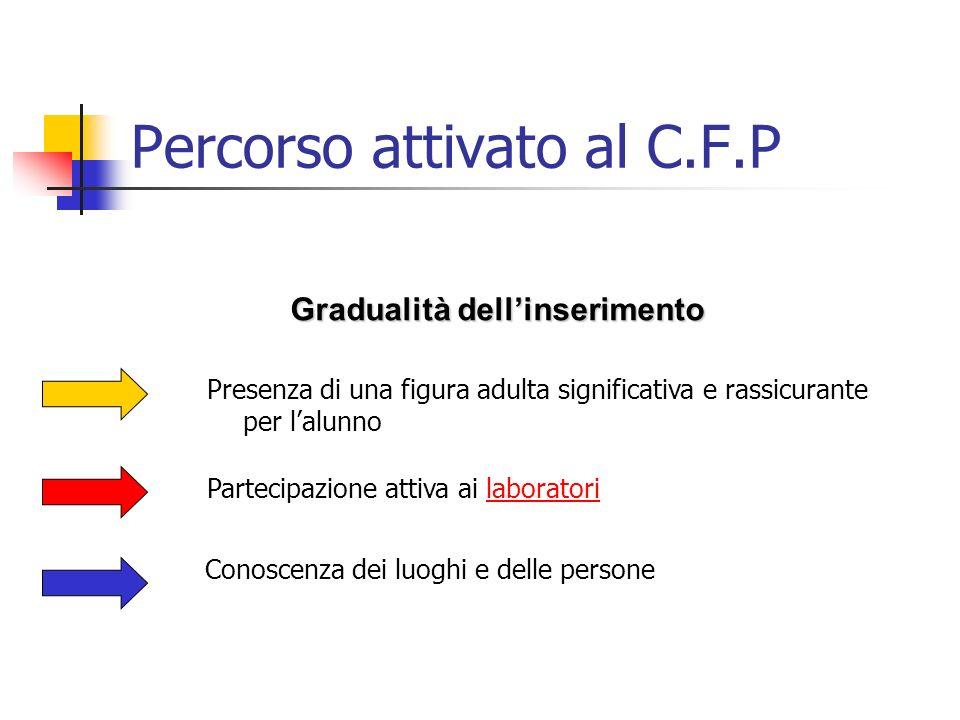 Percorso attivato al C.F.P Gradualità dellinserimento Partecipazione attiva ai laboratorilaboratori Conoscenza dei luoghi e delle persone Presenza di