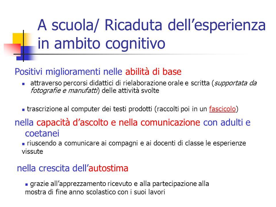 A scuola/ Ricaduta dellesperienza in ambito cognitivo attraverso percorsi didattici di rielaborazione orale e scritta (supportata da fotografie e manu