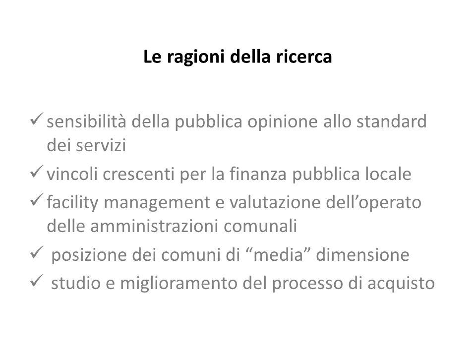 sensibilità della pubblica opinione allo standard dei servizi vincoli crescenti per la finanza pubblica locale facility management e valutazione delloperato delle amministrazioni comunali posizione dei comuni di media dimensione studio e miglioramento del processo di acquisto Le ragioni della ricerca