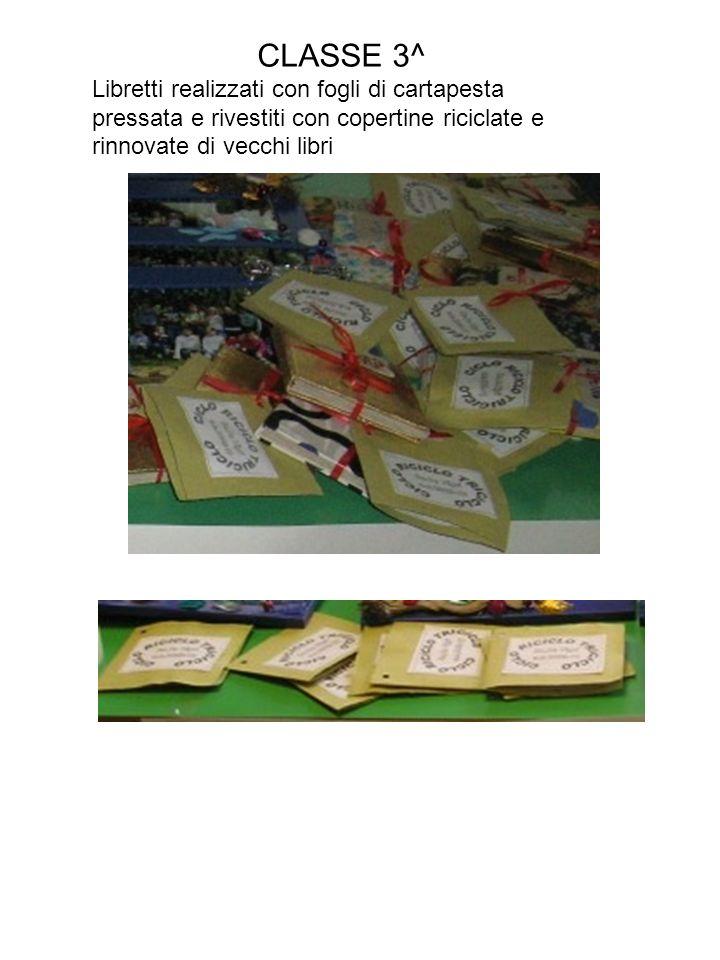 CLASSE 3^ Libretti realizzati con fogli di cartapesta pressata e rivestiti con copertine riciclate e rinnovate di vecchi libri