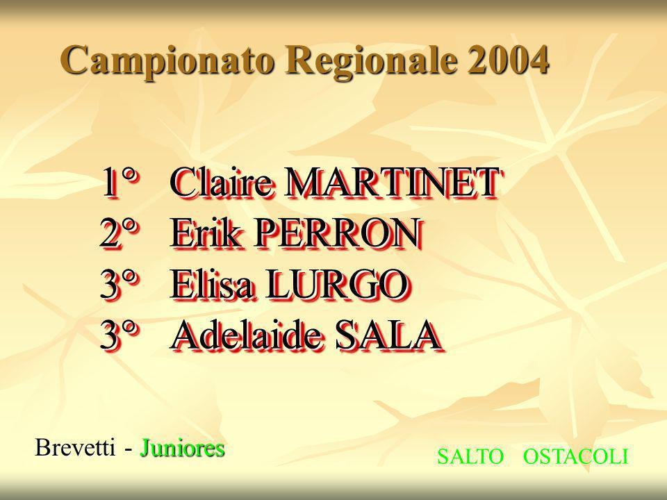 Campionato Regionale 2004 Brevetti - Juniores 1° Claire MARTINET 2° Erik PERRON 3° Elisa LURGO 3° Adelaide SALA 1° Claire MARTINET 2° Erik PERRON 3° E