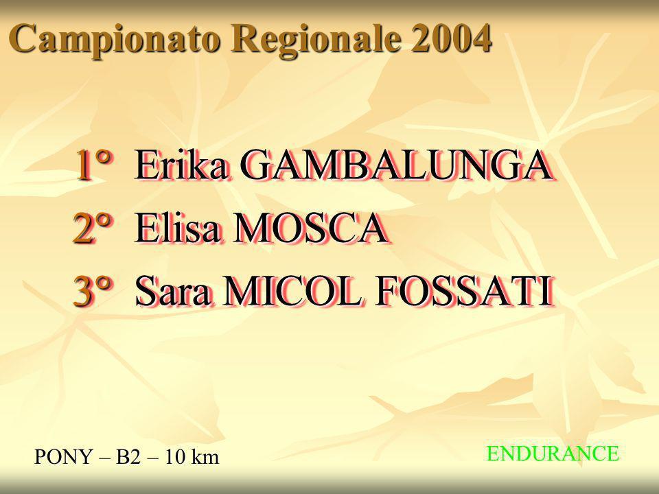 Campionato Regionale 2004 PONY – B2 – 10 km 1° Erika GAMBALUNGA 2° Elisa MOSCA 3° Sara MICOL FOSSATI 1° Erika GAMBALUNGA 2° Elisa MOSCA 3° Sara MICOL