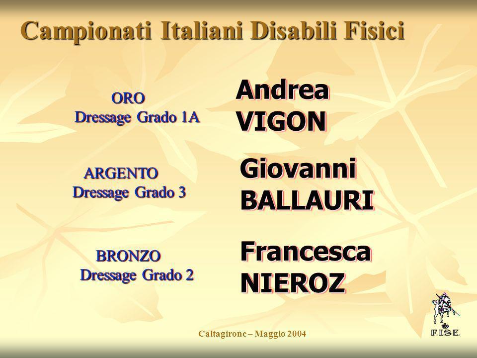 Campionati Italiani Disabili Fisici Andrea VIGON Caltagirone – Maggio 2004 Giovanni BALLAURI ORO Dressage Grado 1A ARGENTO Dressage Grado 3 BRONZO Dre