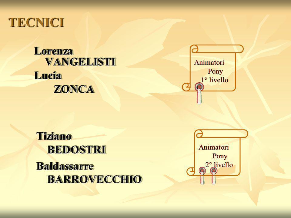 TECNICI Lorenza VANGELISTI Lucia ZONCA ZONCA Lorenza VANGELISTI Lucia ZONCA ZONCA Animatori Pony 1° livello Animatori Pony 2° livello Tiziano BEDOSTRI