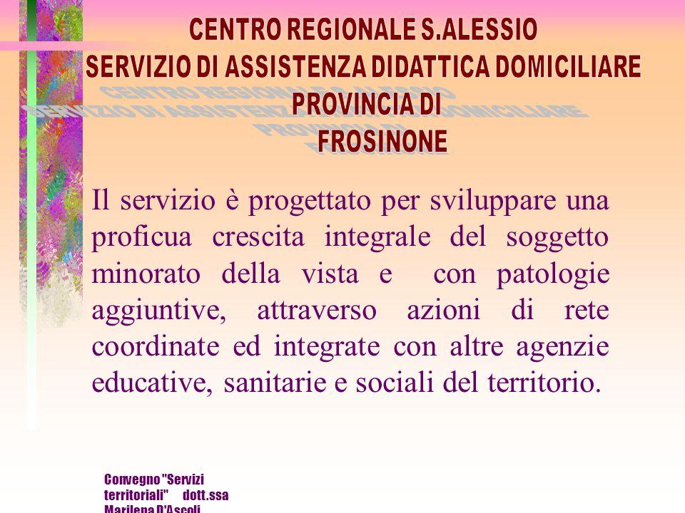 Convegno Servizi territoriali dott.ssa Marilena D Ascoli Storia del servizio Il servizio di Assistenza didattica domiciliare è iniziato nella nostra provincia in via sperimentale nel 1994.