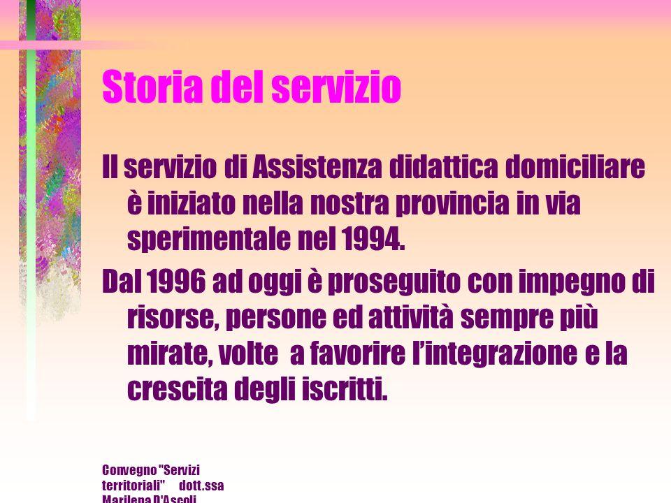 Convegno Servizi territoriali dott.ssa Marilena D Ascoli Scrittura in nero ingrandita su sfondo giallo Trascrizione in braille del testo