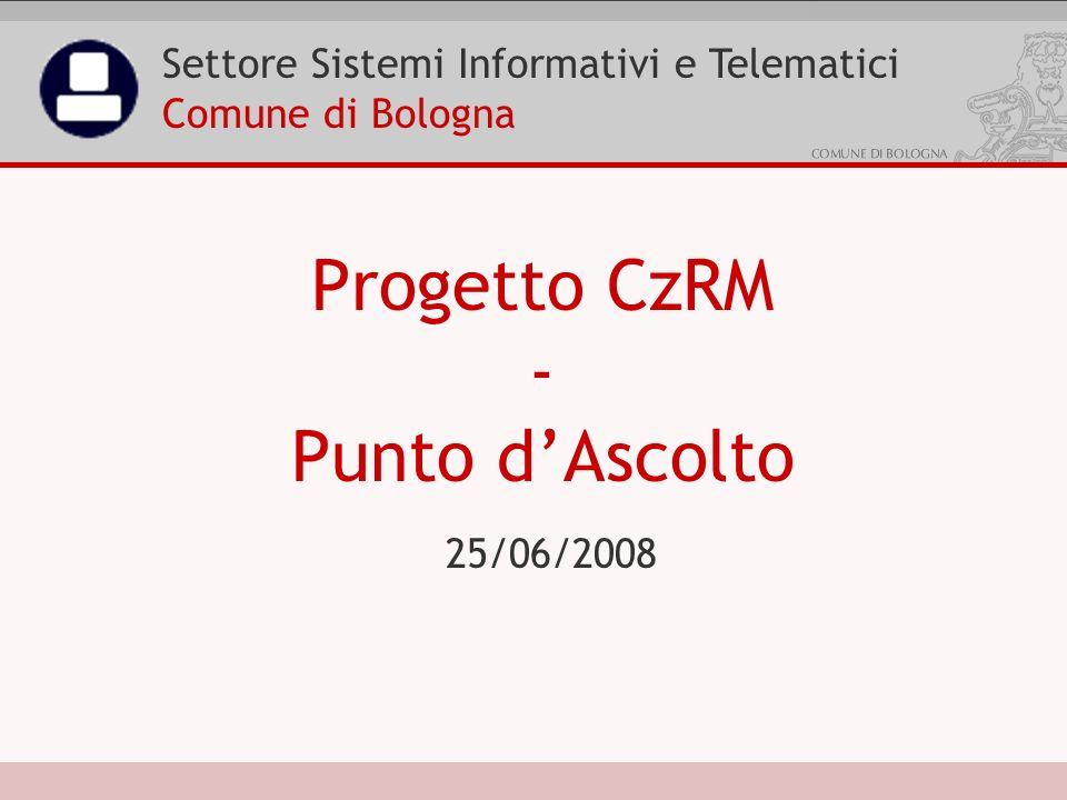 25/06/2008 Progetto CzRM - Punto dAscolto Settore Sistemi Informativi e Telematici Comune di Bologna