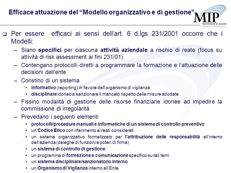 Efficace attuazione del Modello organizzativo e di gestione Per essere efficaci ai sensi dellart. 6 d.lgs 231/2001 occorre che i Modelli: –Siano speci