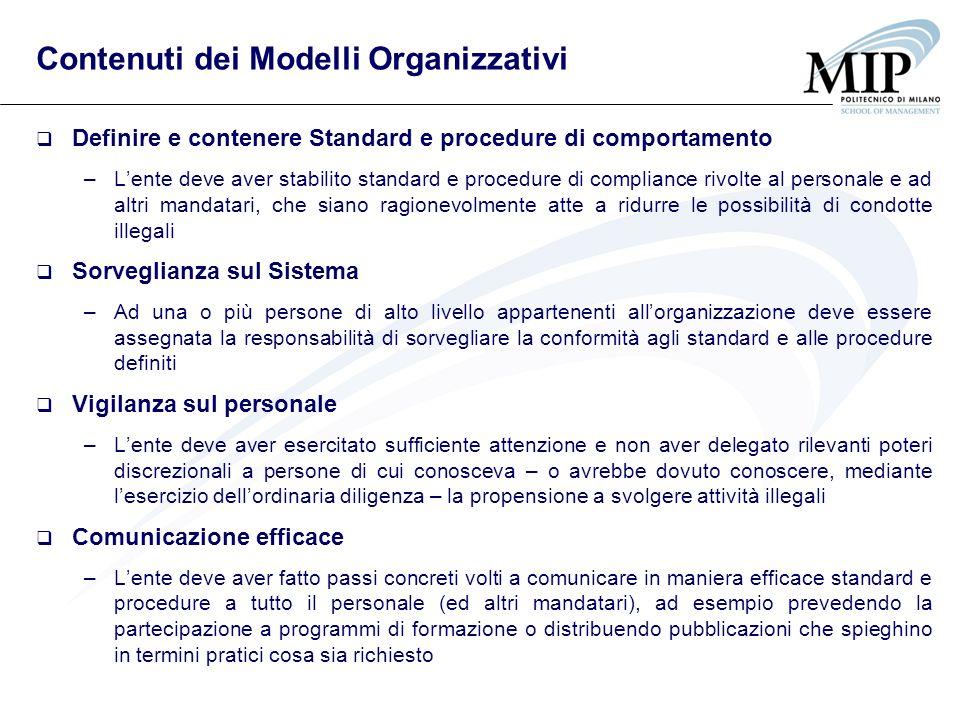 Contenuti dei Modelli Organizzativi Definire e contenere Standard e procedure di comportamento –Lente deve aver stabilito standard e procedure di comp
