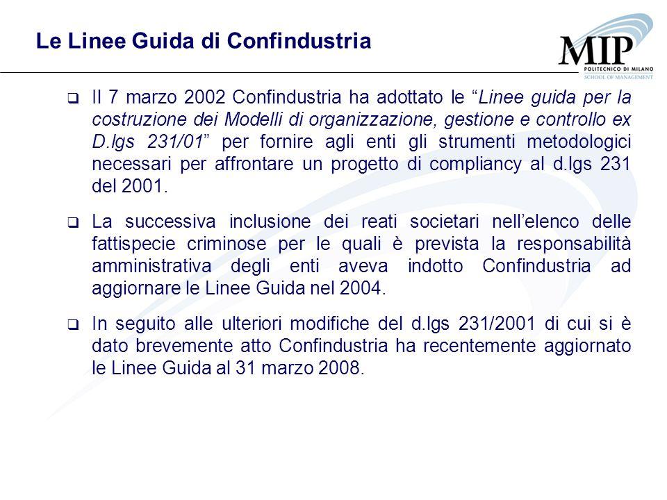 Le Linee Guida di Confindustria Il 7 marzo 2002 Confindustria ha adottato le Linee guida per la costruzione dei Modelli di organizzazione, gestione e