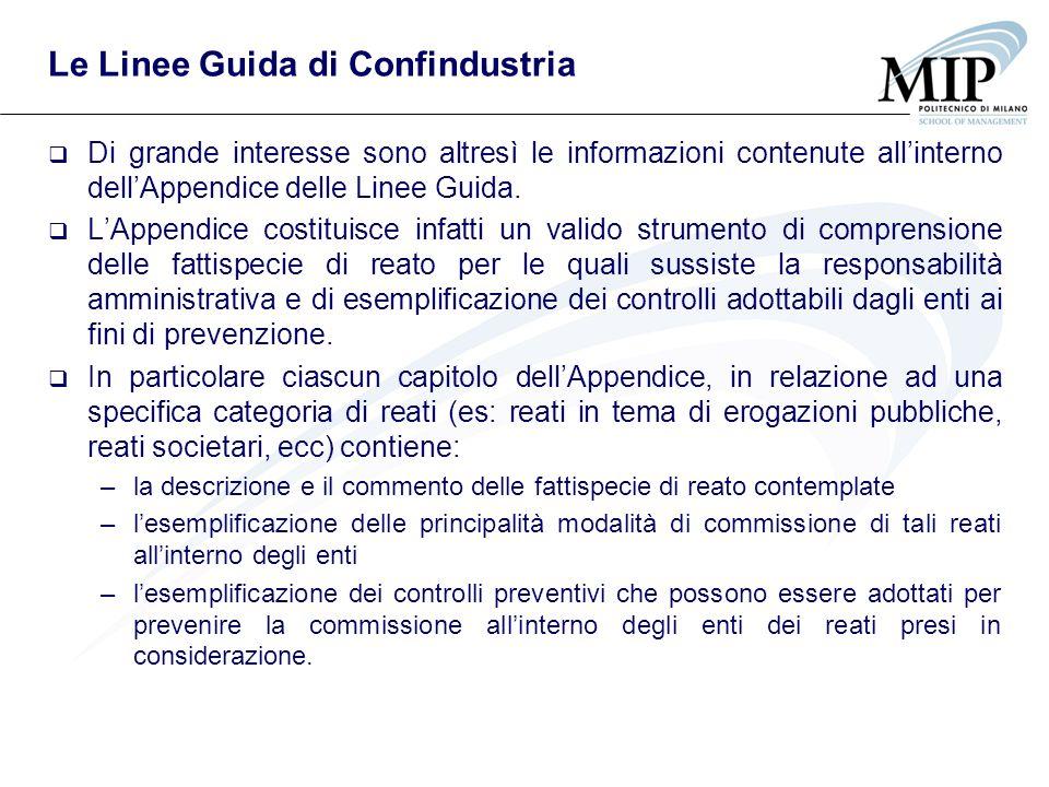 Le Linee Guida di Confindustria Di grande interesse sono altresì le informazioni contenute allinterno dellAppendice delle Linee Guida. LAppendice cost
