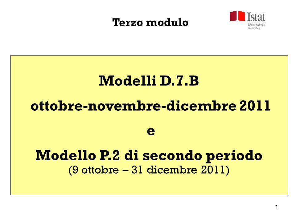 12 + =+ DICEMBRENOVEMBRE 1-31 OTTOBRE - (meno) 1-8 OTTOBRE LA DIFFERENZA È CALCOLATA DALLISTAT + 3° MODULO DATI DI BILANCIO confronto D.7.B-P.2 9 ottobre – 31 dicembre 2011 Circolare Istat n.10/2011, cap 2.