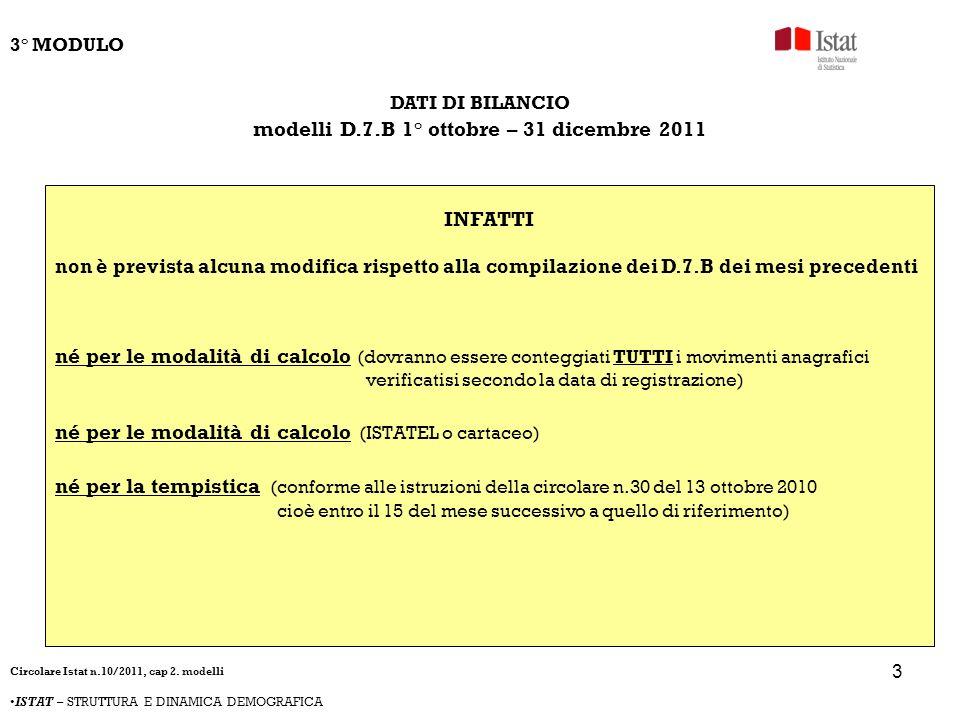 4 DATI DI BILANCIO modelli D.7.B 1° ottobre – 31 dicembre 2011 COERENTEMENTE la COMPILAZIONE DEL D.7.B sarà dellintero mese di ottobre 2011 (1-31) la COMPILAZIONE DEL D.7.B sarà ordinaria per il mese di novembre 2011 la COMPILAZIONE DEL D.7.B sarà ordinaria per il mese di dicembre 2011 Ordinaria perché dovranno essere conteggiati TUTTI i movimenti anagrafici verificatisi secondo la data di registrazione, indipendentemente dal fatto che la persona sia stata censita o non censita, e indipendentemente dalla data dellevento.
